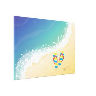 Playa del flip-flop impresion de lienzo