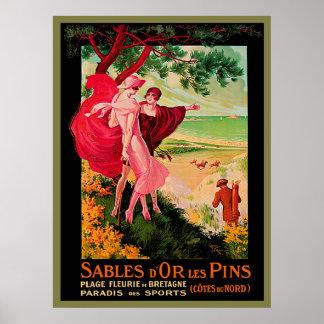 Playa del francés del vintage póster