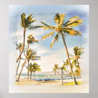 Playa del hawaiian del vintage de PixDezines Impresiones