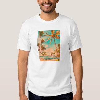 Playa del hawaiian del vintage de PixDezines Remeras