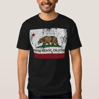 playa del hermosa de la bandera de California Remeras