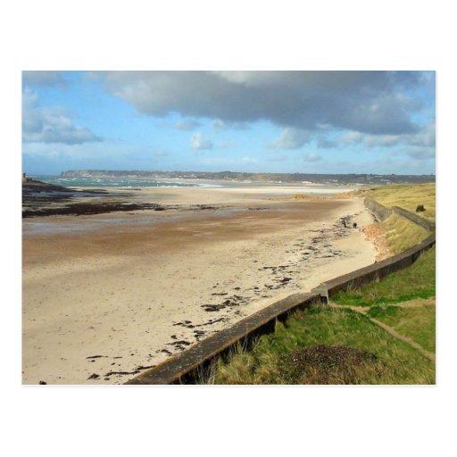 Playa del jersey con marea baja postal