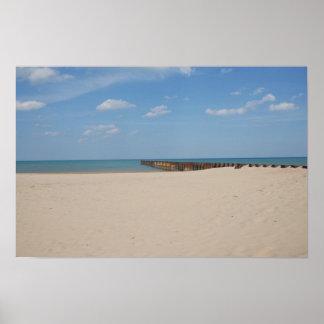 Playa del lago Michigan Póster