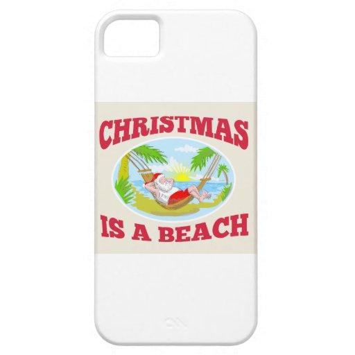 Playa del navidad del padre de Papá Noel que se iPhone 5 Case-Mate Carcasa