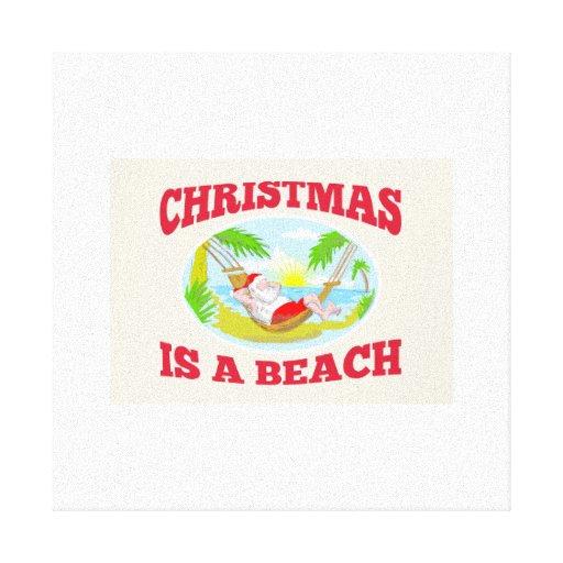 Playa del navidad del padre de Papá Noel que se re Lona Envuelta Para Galerías