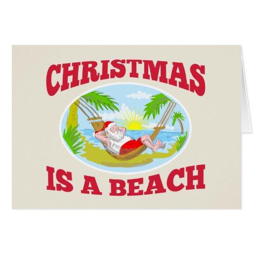 Playa del navidad del padre de Papá Noel que se re Tarjetón