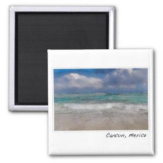 Playa del océano de Cancun México Imán Cuadrado