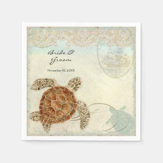 Playa del océano de la tortuga de mar de las servilleta desechable