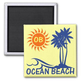 Playa del océano imán cuadrado