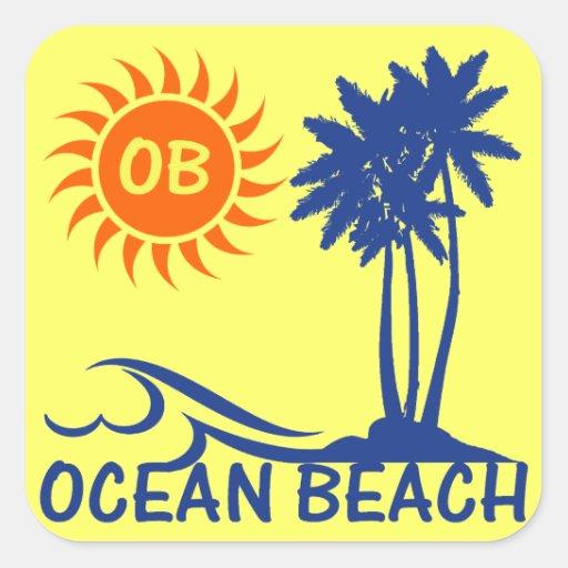 Playa del océano pegatina cuadrada
