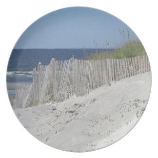 Playa del océano plato para fiesta