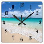 Playa del océano reloj cuadrado