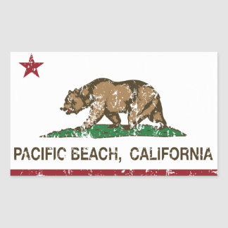 Playa del Pacífico de la bandera de la república Pegatina Rectangular