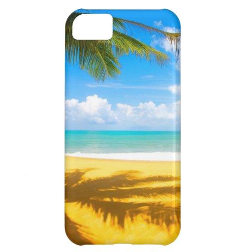 playa del paraíso de la palmera del arena de mar d