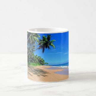 Playa del paraíso y taza tropicales de los palmtre
