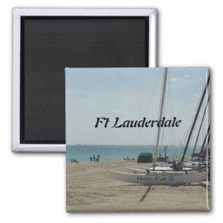 Playa del pie Lauderdale Imán Cuadrado