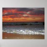 Playa del puerto de la puesta del sol impresiones