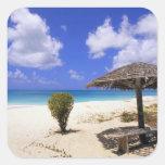 Playa del punto de los Cocos, Barbuda, Antigua Pegatina Cuadrada