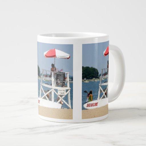 Playa del salvavidas taza de café gigante