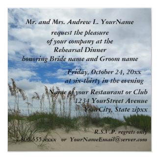 """Playa del Seagrass de la cena del ensayo Invitación 5.25"""" X 5.25"""""""