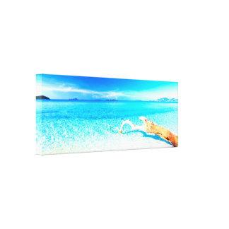 Playa del sur arenosa soleada hermosa por el heali impresiones en lona