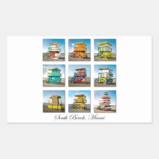 Playa del sur, cabañas del guardia de vida de rectangular pegatinas