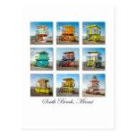 Playa del sur, cabañas del guardia de vida de postales