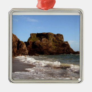 Playa del sur de Devon Westcombe Adorno Navideño Cuadrado De Metal
