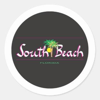 Playa del sur hermosa - camiseta, FL Pegatina Redonda