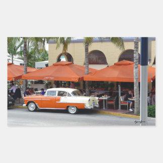 Playa del sur la Florida del coche del vintage Pegatina Rectangular