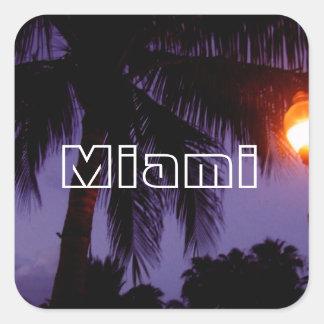 Playa del sur Miami Pegatina Cuadrada