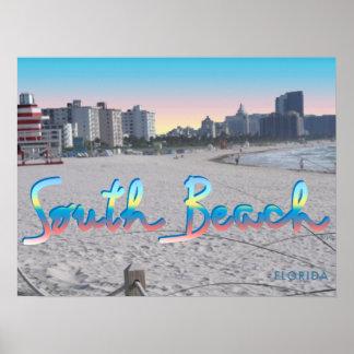 Playa del sur opinión de la ciudad de Miami, la Póster
