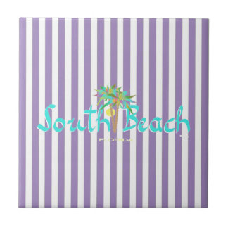 Playa del sur, stripesTile púrpura de la Florida Azulejo Cuadrado Pequeño