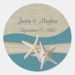 Playa del trullo de las estrellas de mar y de la a pegatinas redondas