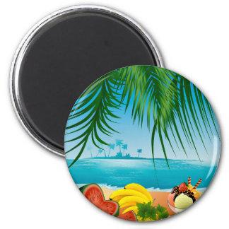 Playa del verano imán redondo 5 cm