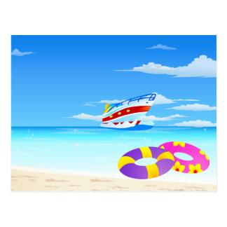 Playa del verano postal