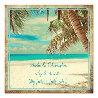 Playa del vintage de PixDezines, paraíso tropical Comunicado Personalizado