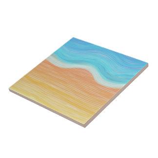 Playa del Watercolour Azulejo Cuadrado Pequeño
