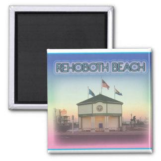 Playa Delaware de Rehoboth - escena de la avenida  Imán Cuadrado