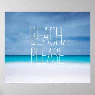 Playa divertida, por favor inconformista tropical  póster