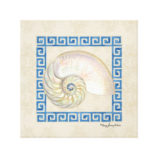 Playa dominante griega del damasco de la acuarela  impresiones de lienzo