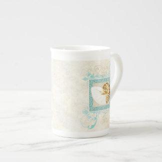Playa dominante griega del damasco de la acuarela  tazas de porcelana