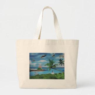 Playa elegante de Vogue de la palmera del coco Bolsa Tela Grande