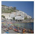 Playa en Amalfi, Campania, Italia Azulejo Cuadrado Grande