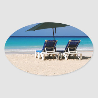 Playa en Barbados Pegatinas Ovales