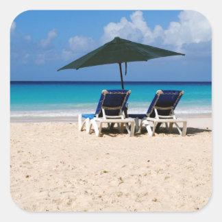 Playa en Barbados Pegatina Cuadrada