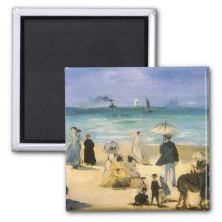 Playa en Boulogne por Manet, impresionismo del Imán Cuadrado