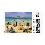 Playa en Boulogne por Manet, impresionismo del Sello