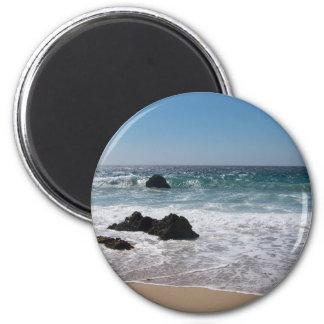Playa en Carmel, CA Imán Redondo 5 Cm