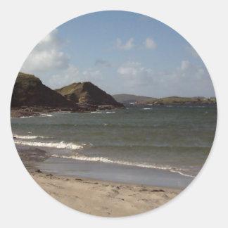 Playa en Donegal, Irlanda Etiqueta Redonda